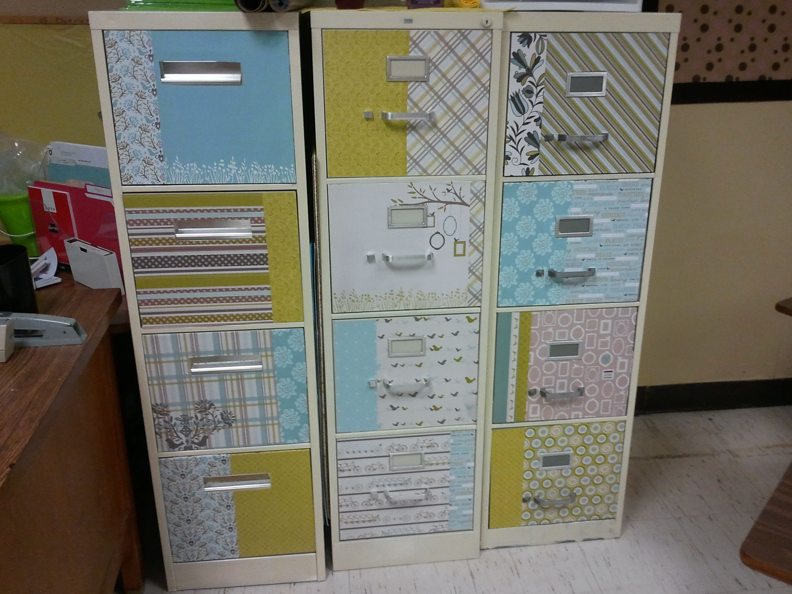 I Painted My File Cabinets With Rustoleum Tip Roll It On With A 6 Foam Roller Don T Do The Spray Paint Filing Cabinet Refinishing Furniture Scrapbook Paper