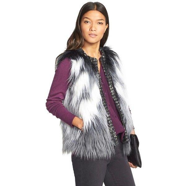 Women's Kristen Blake Long Hair Faux Fur Vest (375 ILS) ❤ liked on Polyvore featuring outerwear, vests, long faux fur vest, kristen blake, long waistcoat, gray vest and white vest