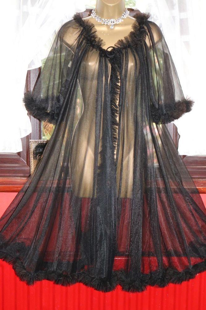 Vtg 50s/60s RN 12962 Black Sheer Glamorous 100% Nylon Frilly ...