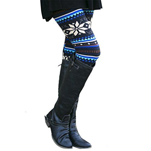 Women Leggings Xmas Design Skinny Stretchy Pants Jegging XL Blue * Click image to review more details.