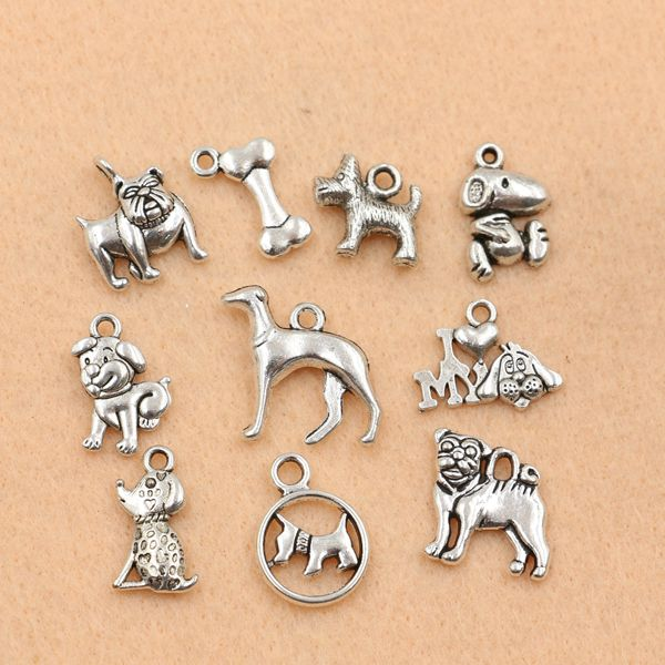 10pc mixed tibetan silver plated animals dogs charms pendants 10pc mixed tibetan silver plated animals dogs charms pendants jewelry making diy charm handmade crafts m028 in charms from jewelry on aliexpress mozeypictures Images