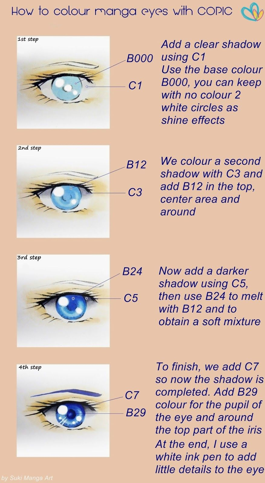 Tutorial How To Colour Manga Eyes With Copic By Suki Manga Art Copic Marker Art Copic Markers Tutorial Copic Sketch Markers