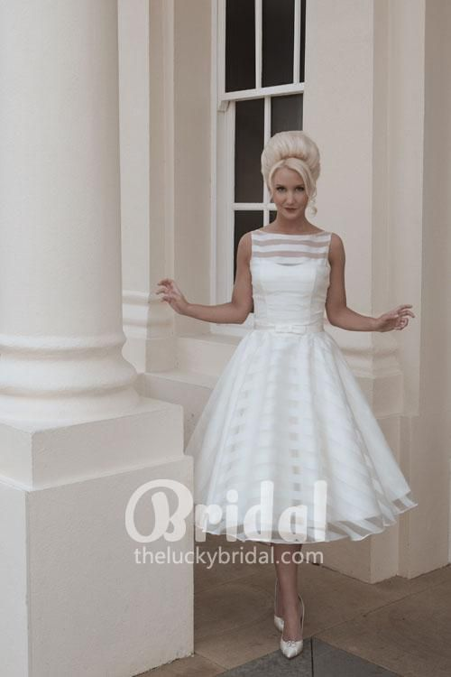 Ivory Sleeveless Bateau Neck Striped Organza Tea Length Wedding Dress