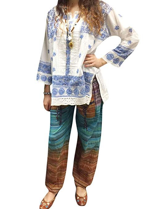 8eaae99565f Mogul Interior Womens Blue Tunic Top White Floral Embroidered Cotton Boho  Top Blouse L at Amazon