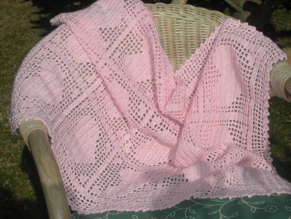 Filet Crochet Heart Baby Blanket Crochet Filet Patterns Baby