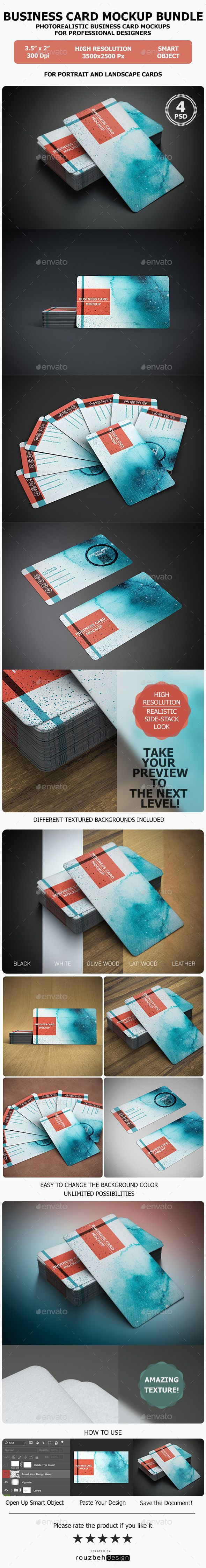 Realistic business card mock up bundle business cards mockup and realistic business card mock up bundle reheart Images