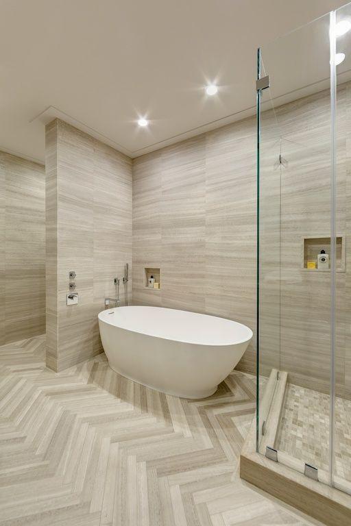 master bathroom with freestanding tub. Modern Master Bathroom with Signature hardware allene resin freestanding tub  High ceiling bathroom Freestanding Artistic Tile Vestige Cloud Chevron