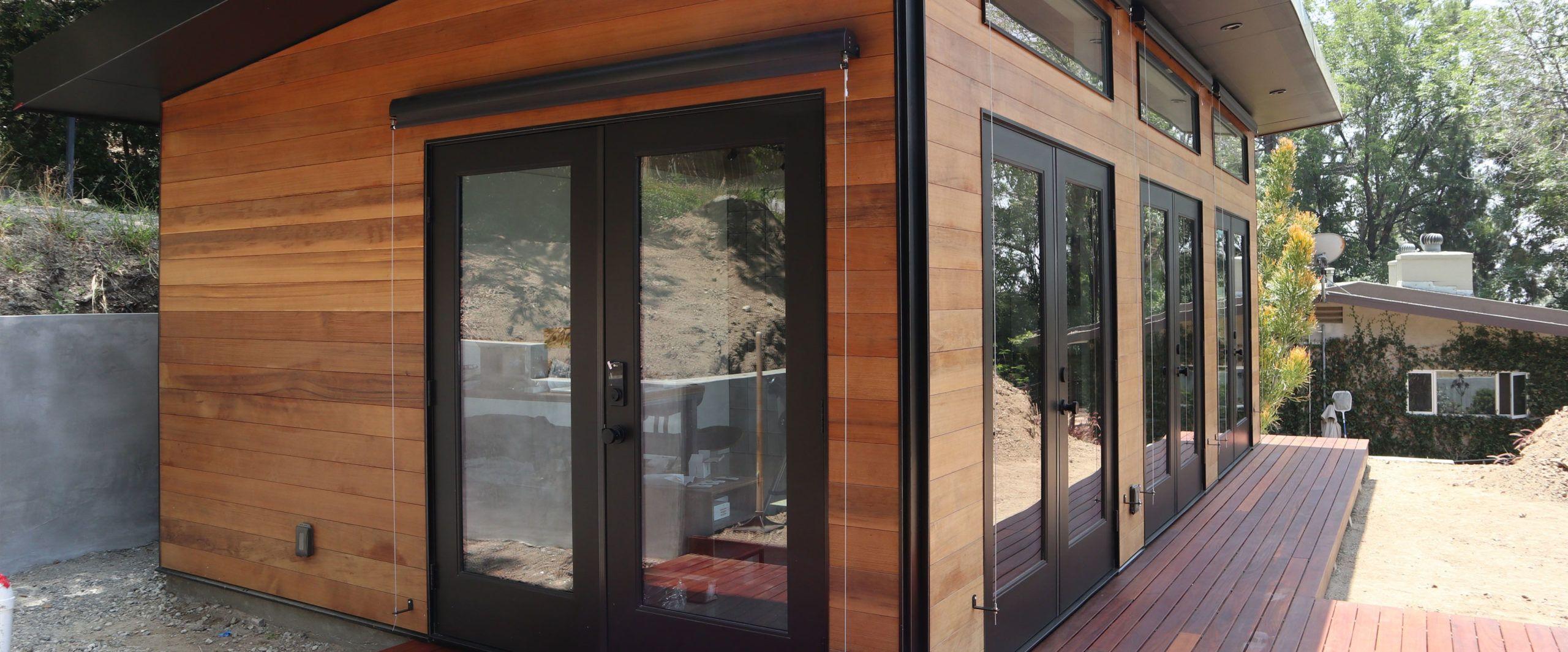 Prefab Accessory Dwelling Units Adu And Modern Garages Studio Shed Studio Shed Modern Garage Backyard Studio