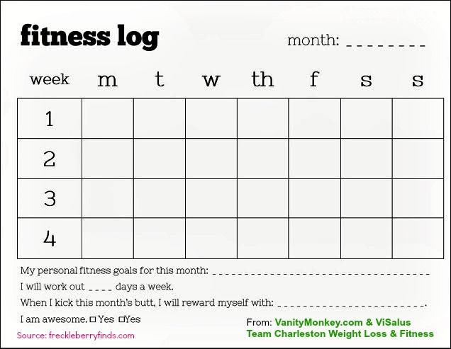 A Weekly Fitness Log For You To Use  Printable  Visalus Weight