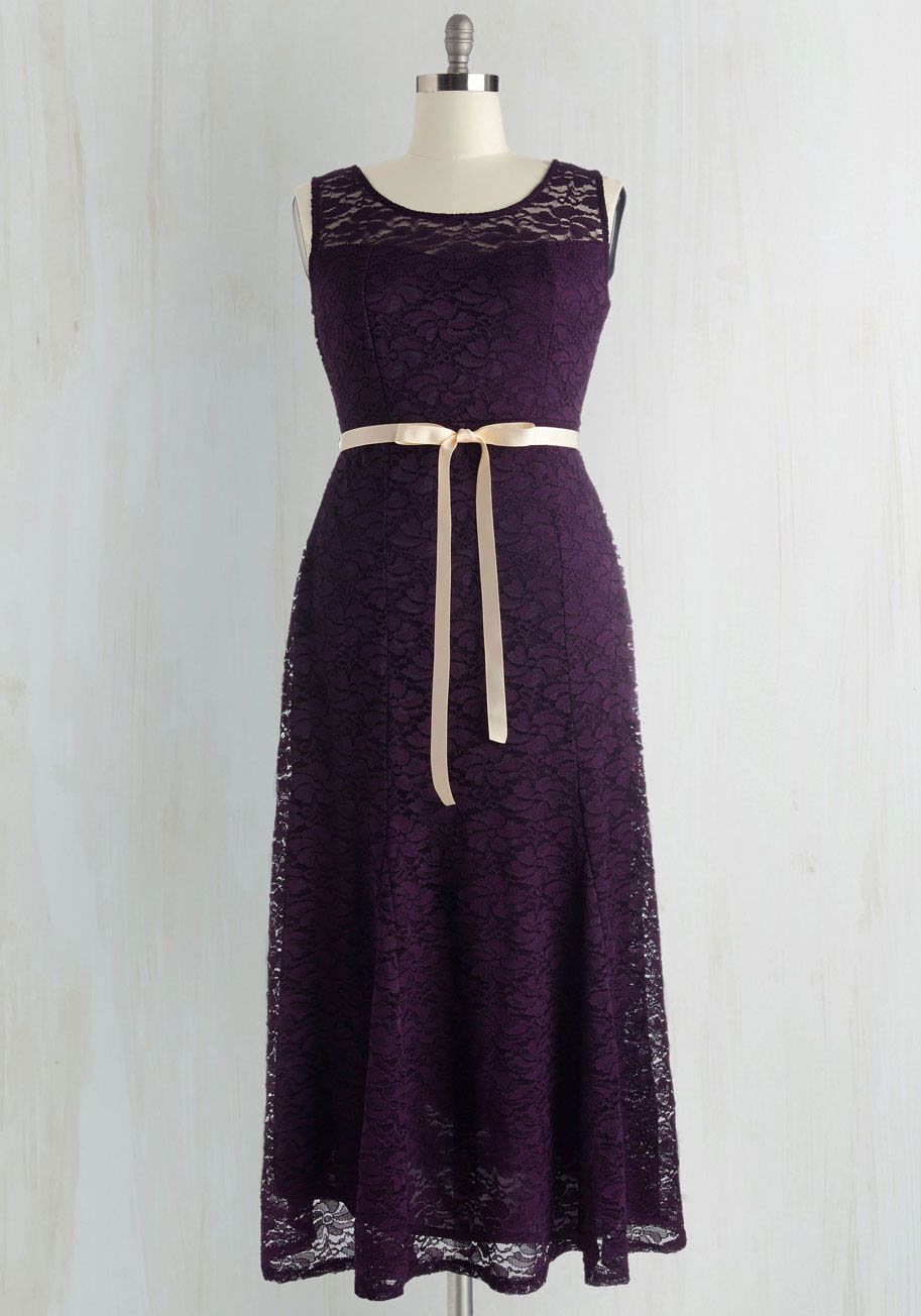 A Real Romantic Dress. To ensure a special day is oh-so special, this elegant aubergine maxi dress is your first choice. #purple #prom #modcloth
