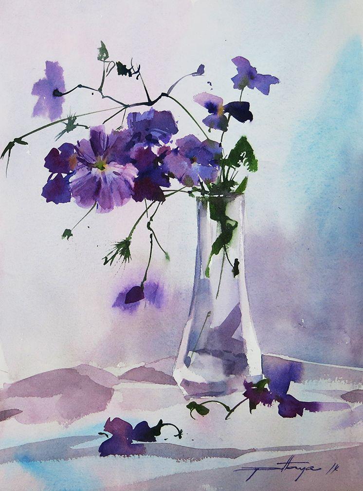 Flowers In Vase Art Painting Flower Painting Watercolor Flowers