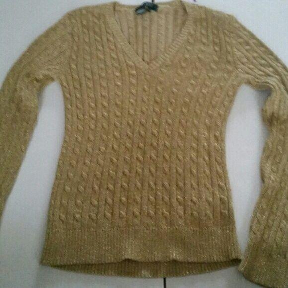 Gold Ralph Lauren sweater Gold petite sweater medium Ralph Lauren Sweaters Crew & Scoop Necks