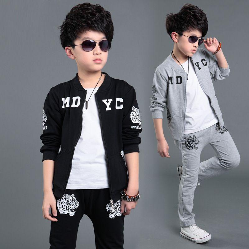 47dc3f04 Cotton Kids Boy Active Casual Clothes Set Letter And Tiger Print Zipper  Jacket+Pant #Affiliate