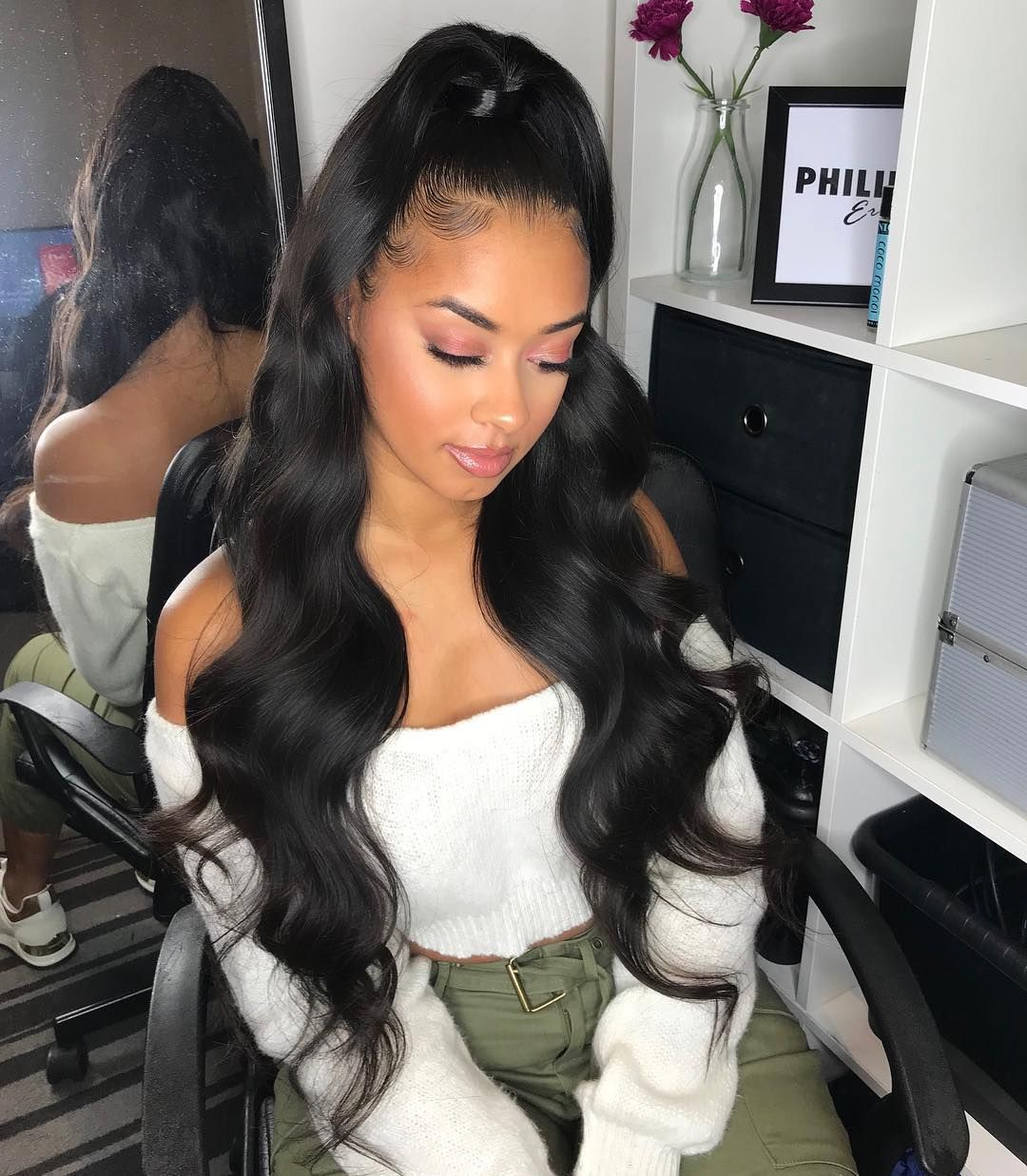 Philiperichair On Instagram Half Up Half Down Slay For Sashaellese Using 26 X4 From Hairess Hair Styles Body Wave Weave Hairstyles Hair Waves