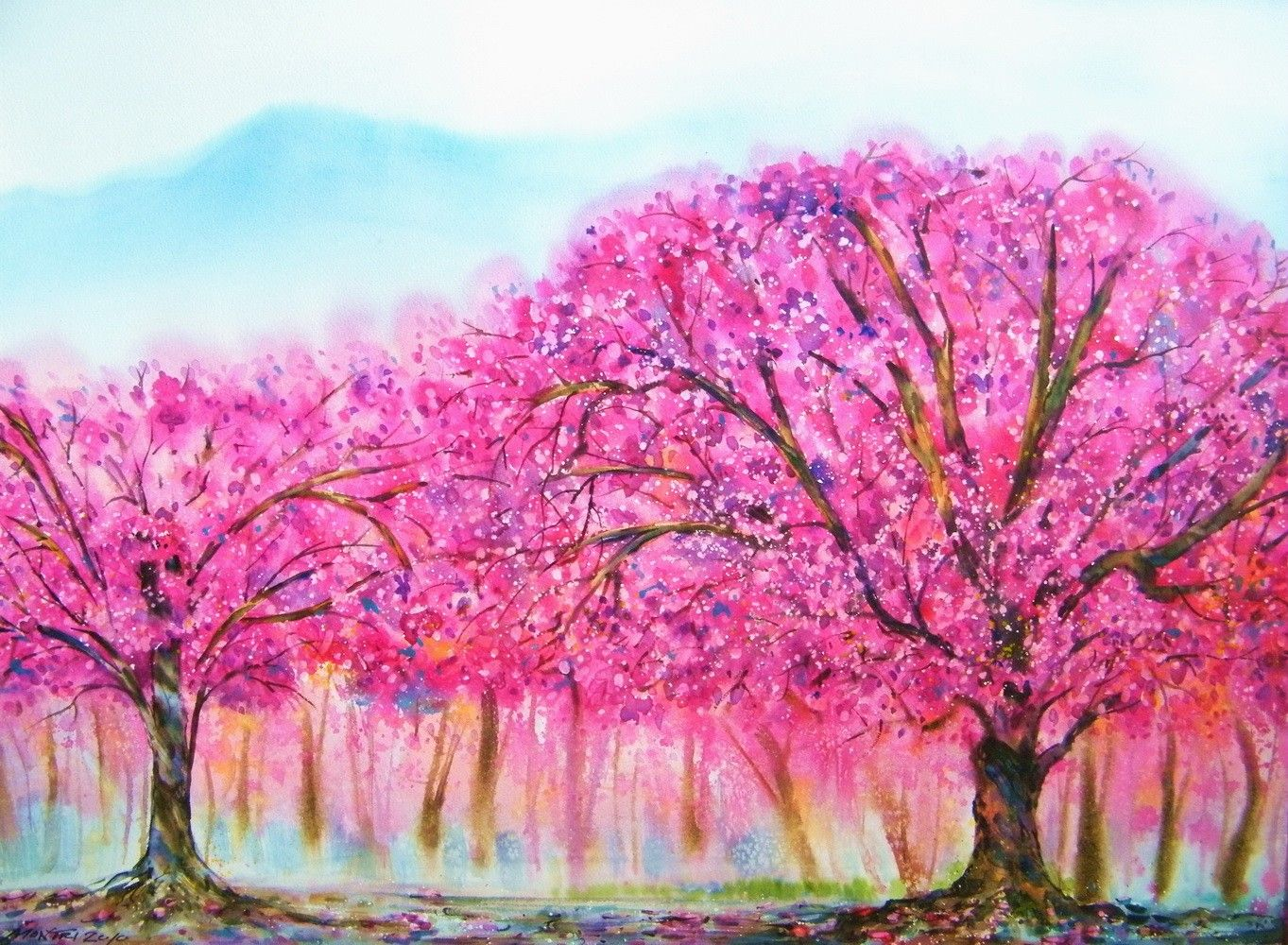 Etsy watercolor paintings cherry blossom season for Simple cherry blossom painting