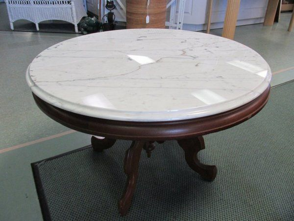 Walnut Eastlake Style Round Marble Top Coffee Table