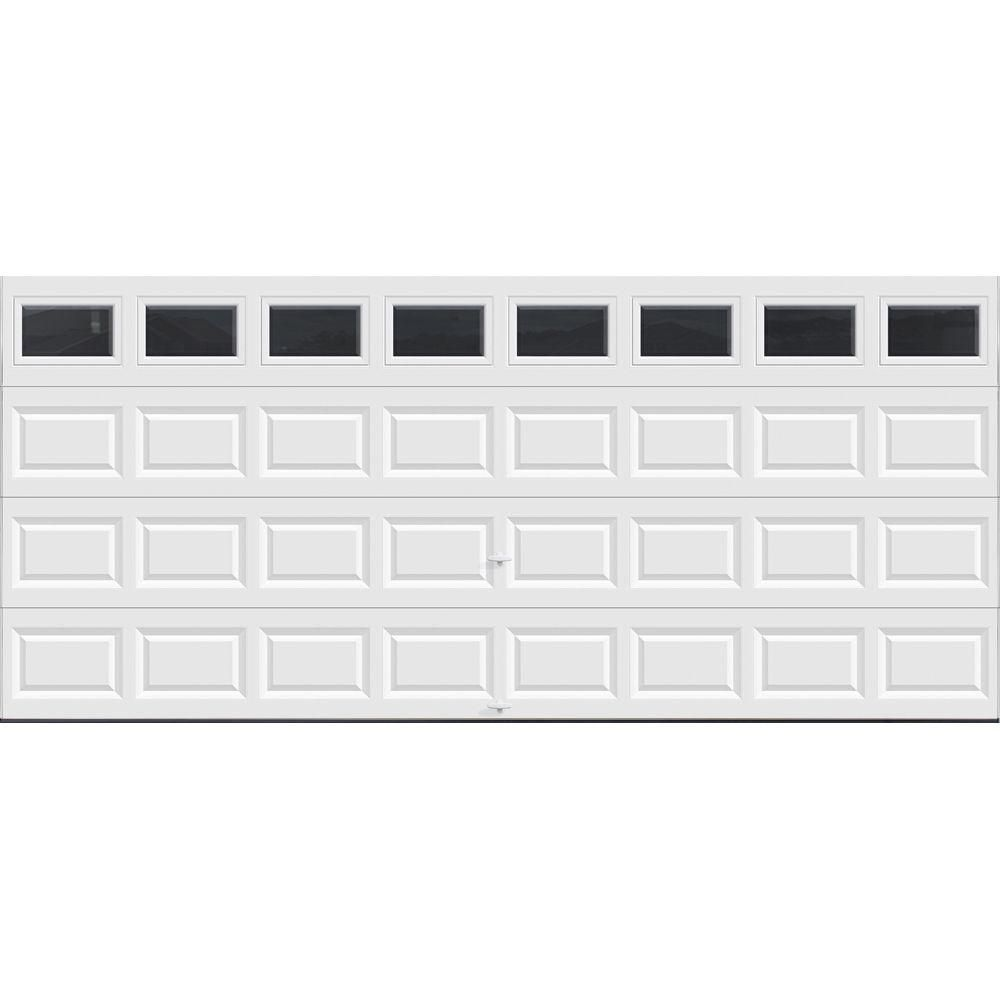 Clopay Classic Collection 16 Ft X 7 Ft Non Insulated White Garage Door With Plain Windows Hdb Sw Plain The Home Depot In 2020 Garage Door Design Garage Doors White Garage Doors