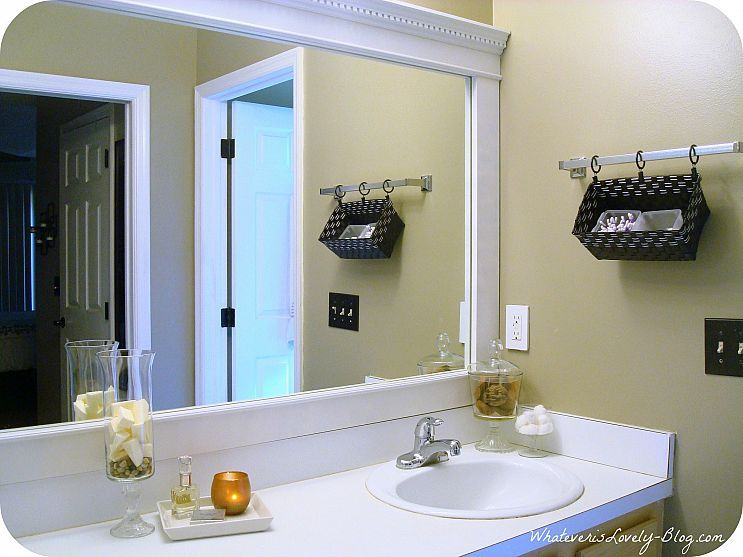 Bathroom Mirror Framed With Crown Molding Large Bathroom