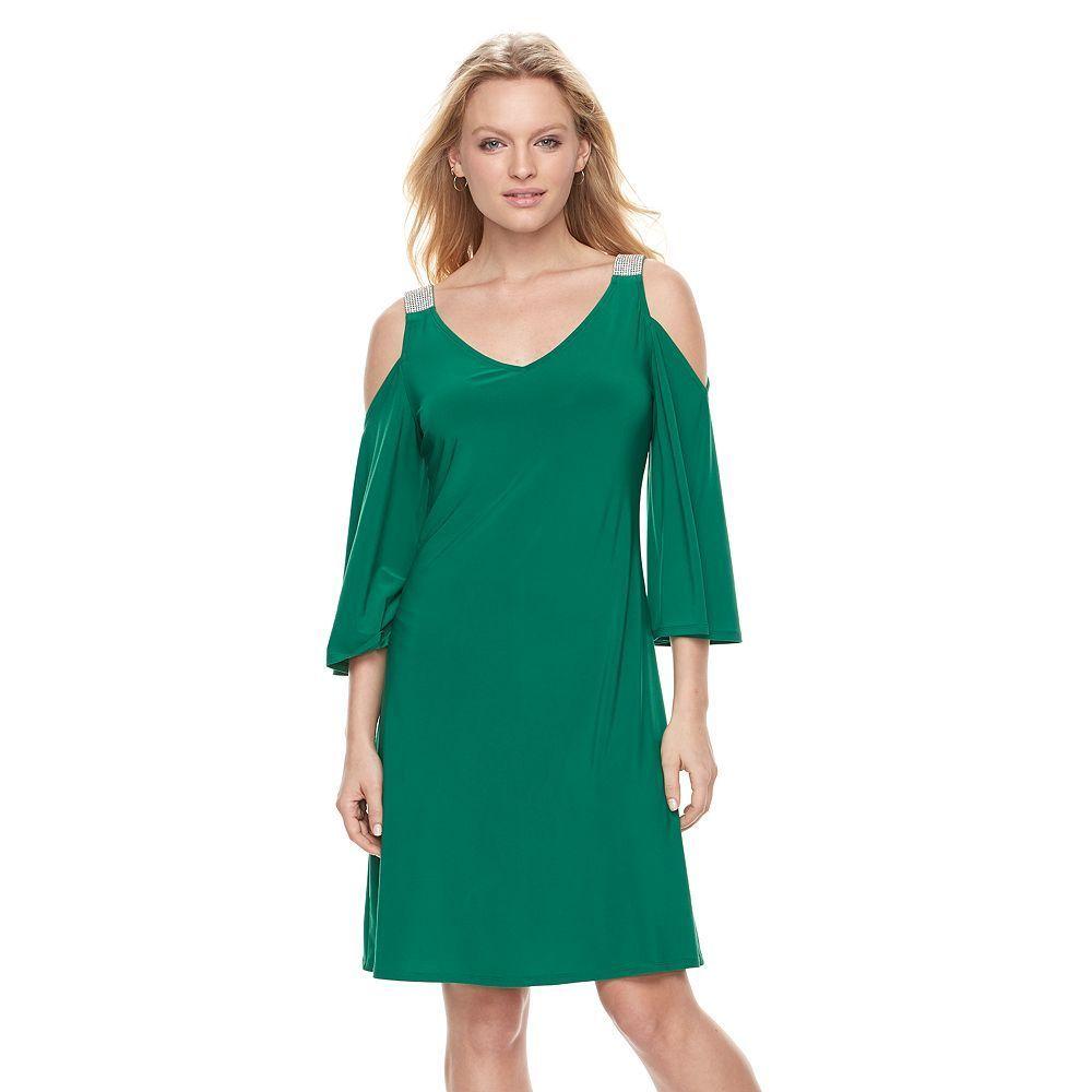 Green dress v neck  Womenus MSK Embellished ColdShoulder Shift Dress Size XL Brt