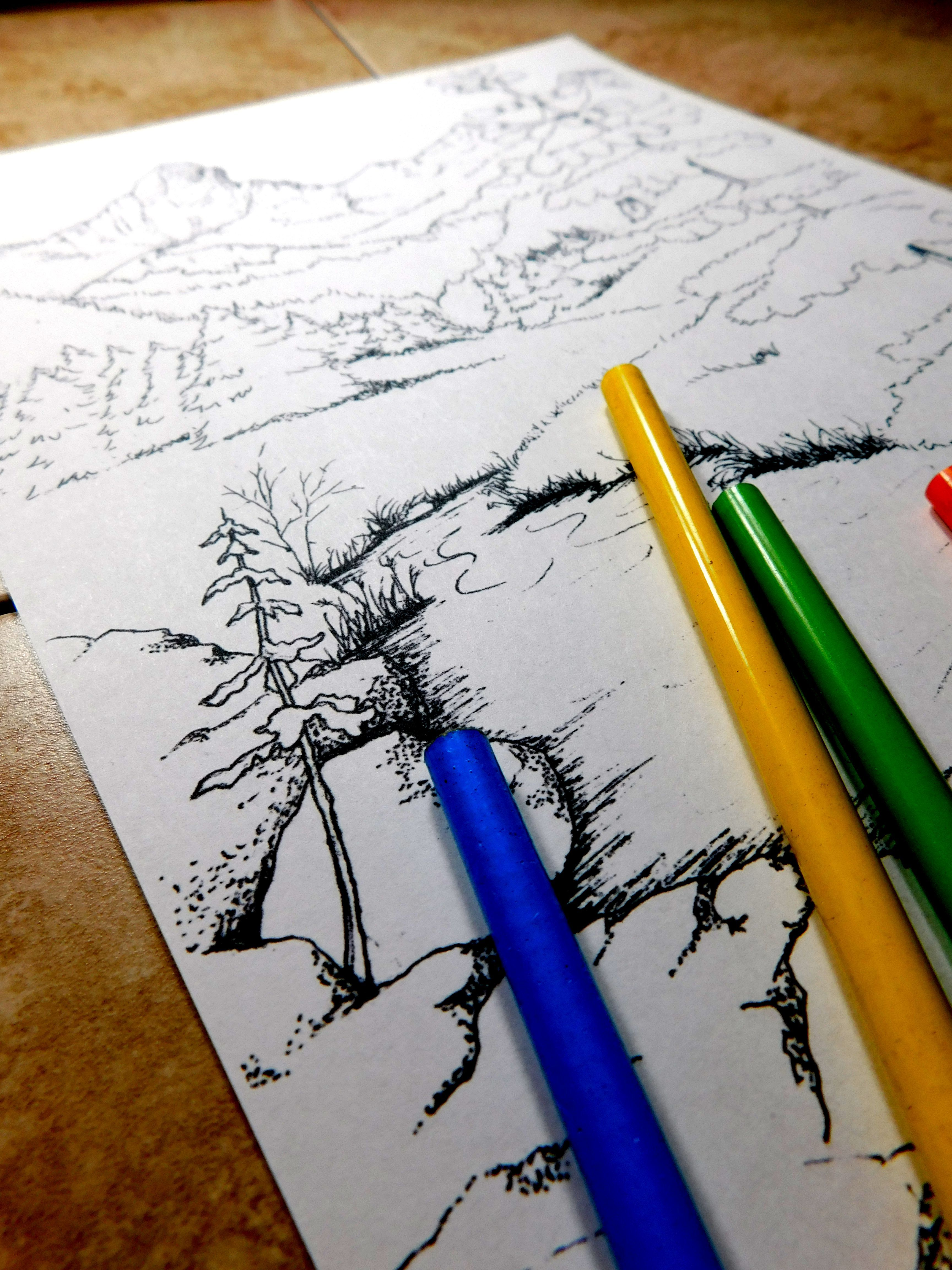 mountain coloring page, #wilderness coloring page, #nature coloring ...