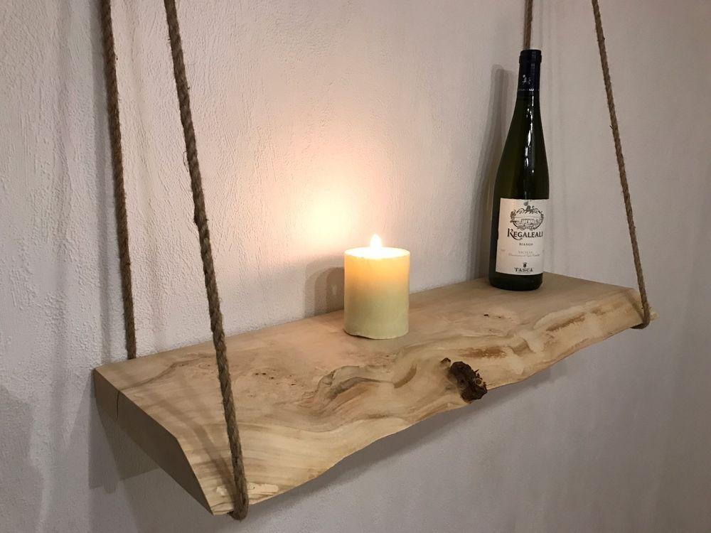Wandregal Holz Mit Seilen Natur Rustikal Ebay Wandregal Holz Regal Holz Wandregal