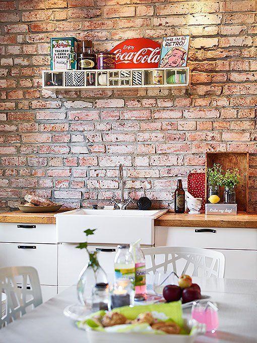 Pared De Ladrillo Visto Brick Kitchen Brick Wall Kitchen Kitchen Brick Wall