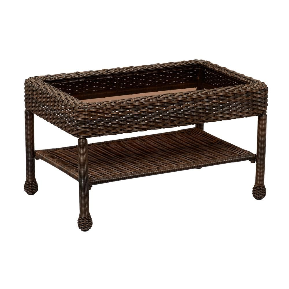 Hampton Bay Mix And Match Brown Wicker Outdoor Coffee Table 65 51686B 5C