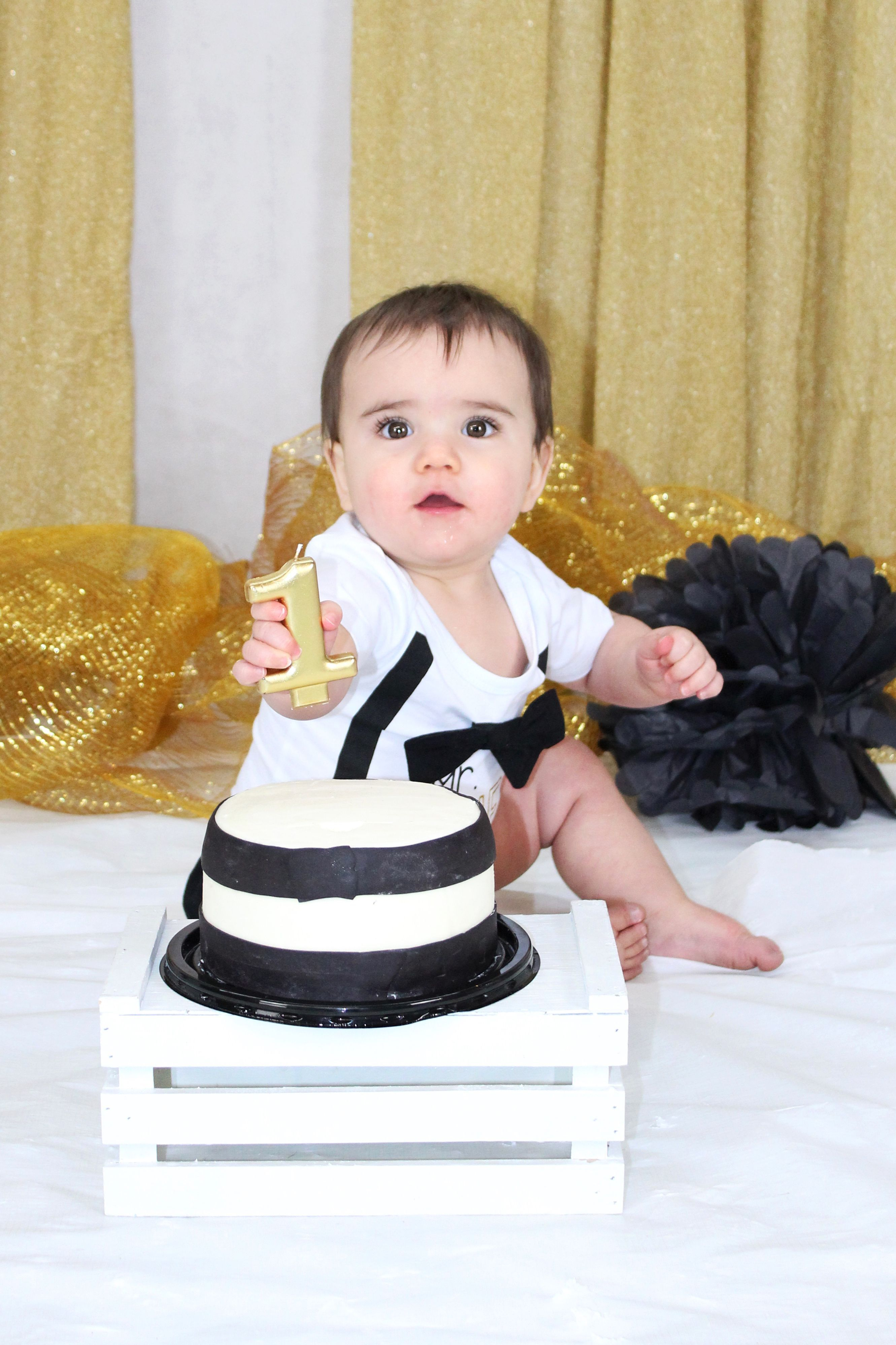 White Black and Gold One Year Old Boy Cake Smash Studio Portraits White Black and Gold One Year Old Boy Cake Smash Studio Portraits in Bridgewater MA