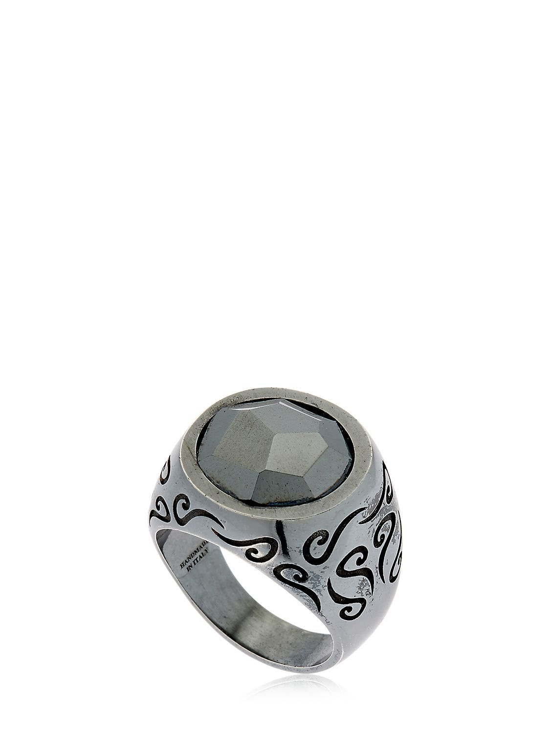 Marco Dal Maso Mens Round Oxidized Silver Ring with Onyx, Size 9.5