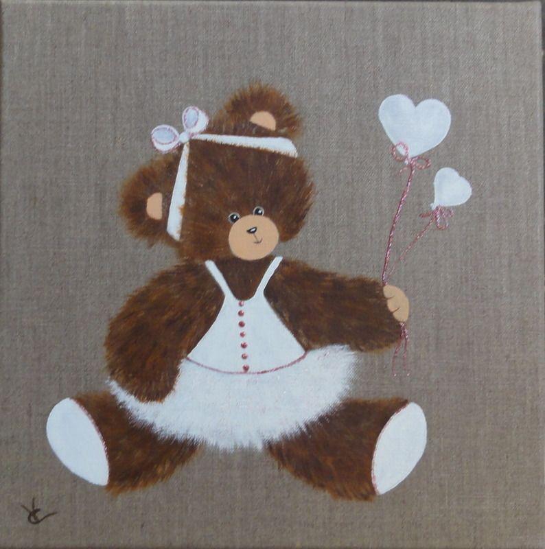 Peinture ourson sur toile de lin naturel tableau for Peinture lin naturel