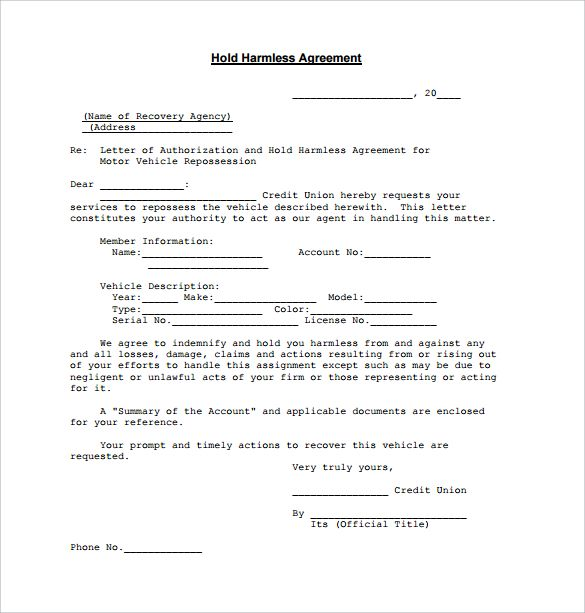 Hold Harmless Letter For Vehicle Release from i.pinimg.com