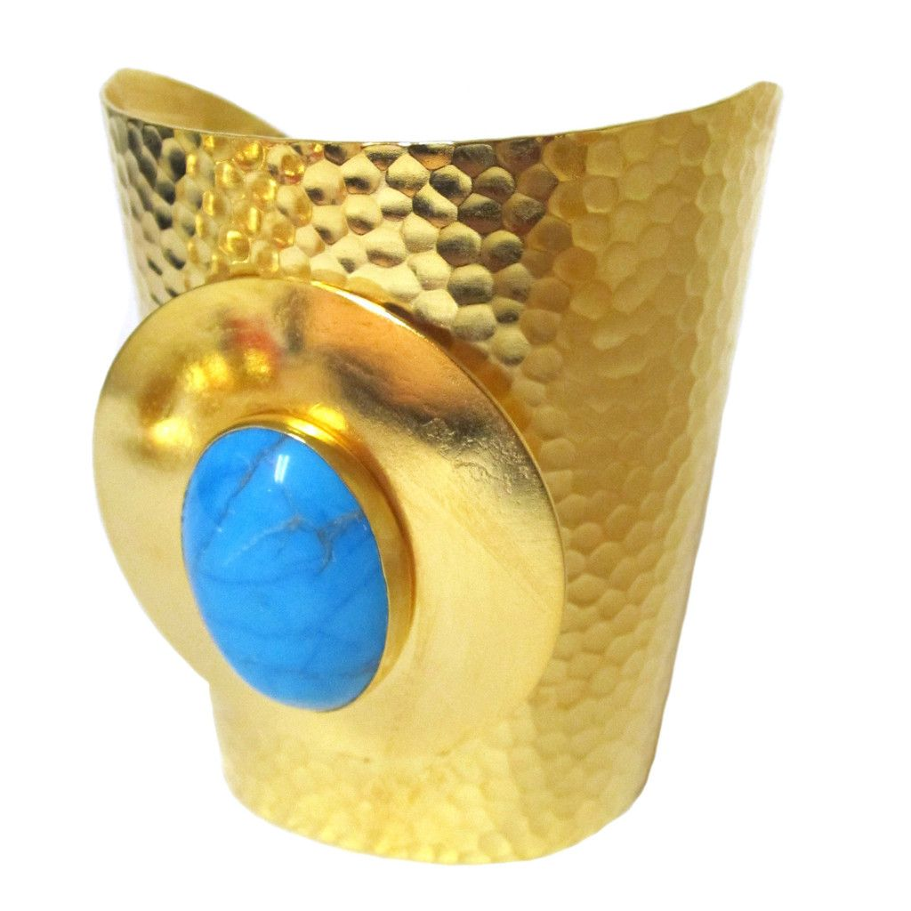 Claudia stunning hammered and gemstone gold plated cuff cuffs