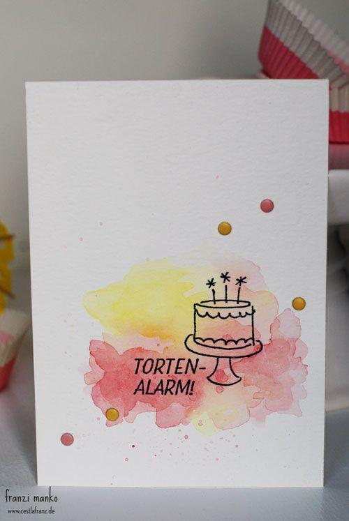 Geburtstagsgruss Mit Aquarell Torten Alarm Stampin Up