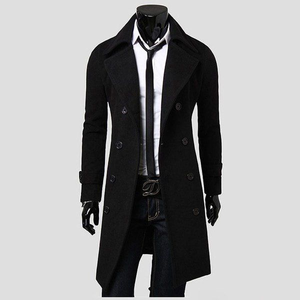 414b537ed255 Men s Slim Stylish Trench Coat Winter Long Jacket Double Breasted Overcoat  New