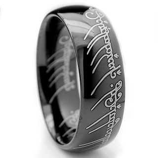 Tungsten Carbide Unisex Black-plated Laser-etched Elvish Script Ring. Love it!!
