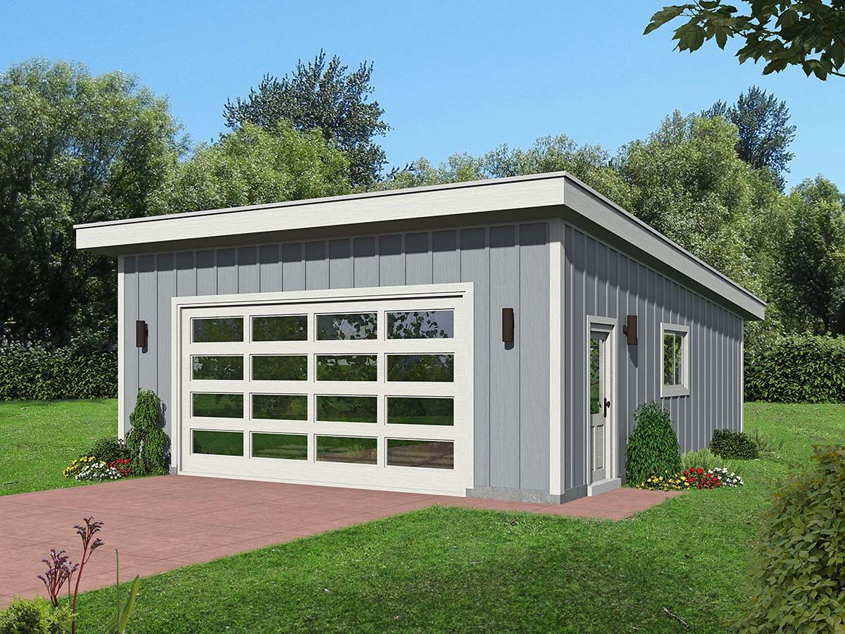 Contemporary Style 2 Car Garage Plan Number 51641 Garage Workshop Plans 2 Car Garage Plans Garage Plan
