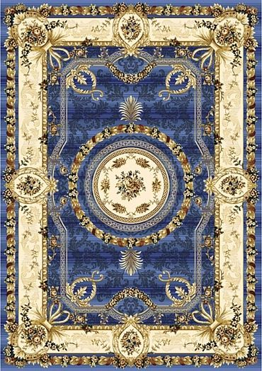 Oriental Rug in Cream and Cornflower Blue and a few little Colorful Accents