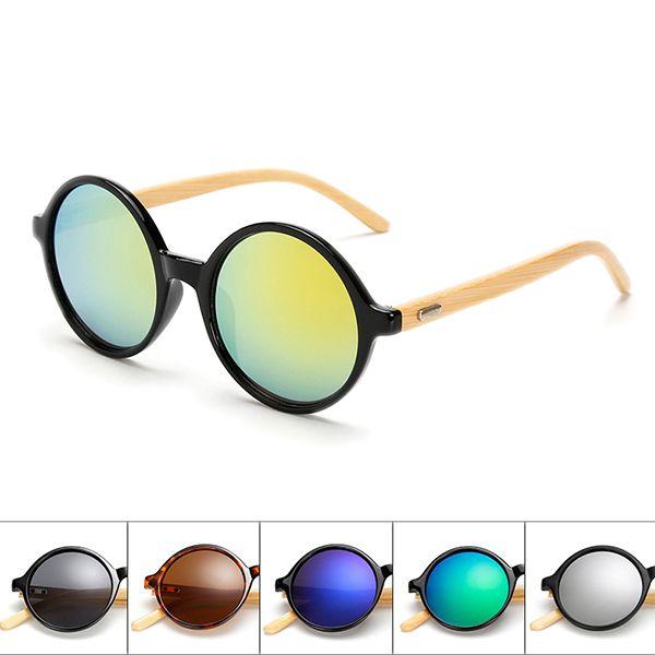 ce4e924c53c Unisex Vintage Retro Round UV400 Sunglasses Handmade Bamboo Leg Shades Eyewear  Glasses