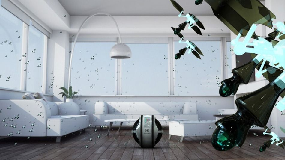 """As part of Electrolux Design Lab's competition, designer Adrian Perez Zapata developed """"Mab,"""" a system of flying robots that can clean your house. #designlab2013"""
