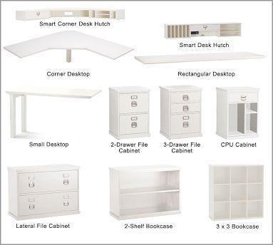 Build Your Own Bedford Modular Desk Home Office Furniture Modular Desk Pottery Barn Desk