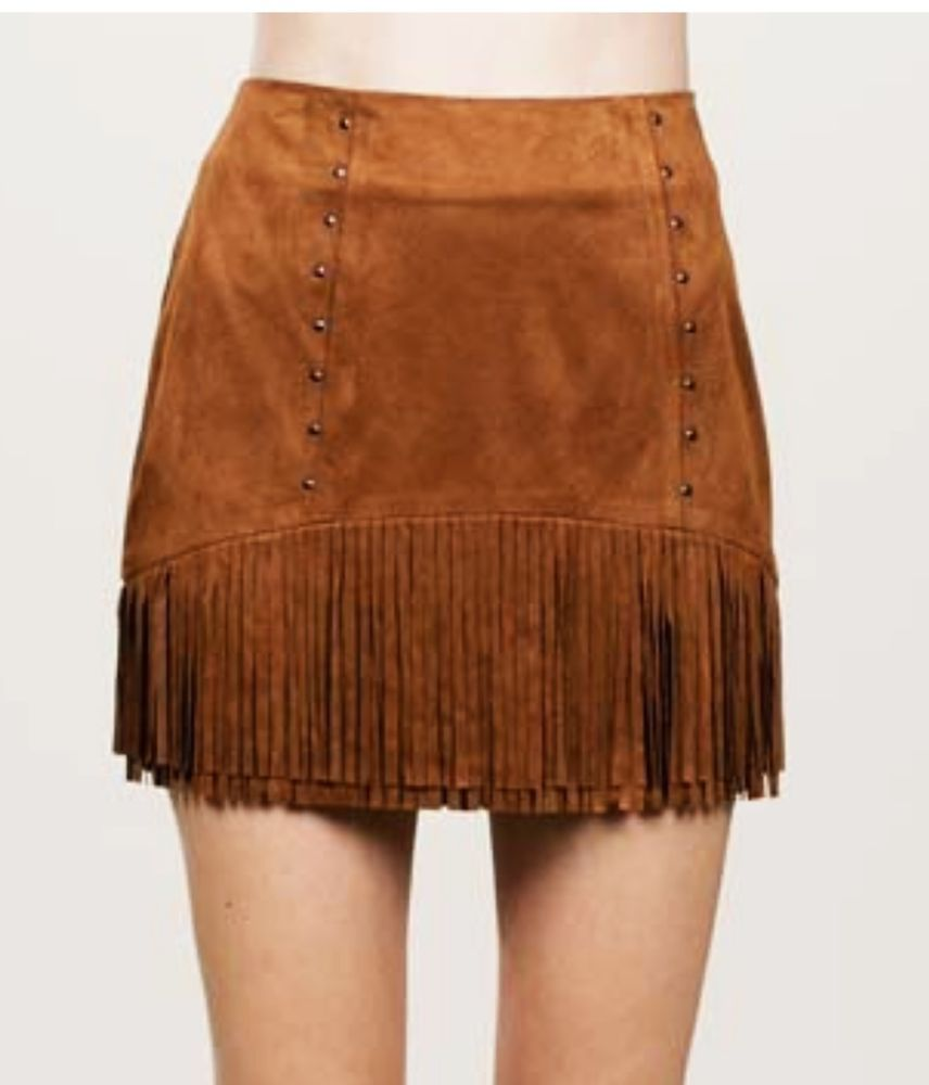 d3c8847b8 Cowgirl FRINGE MINI SKIRT Brown Faux Suede Short Western Sexy nwt LARGE  #encreme #Mini