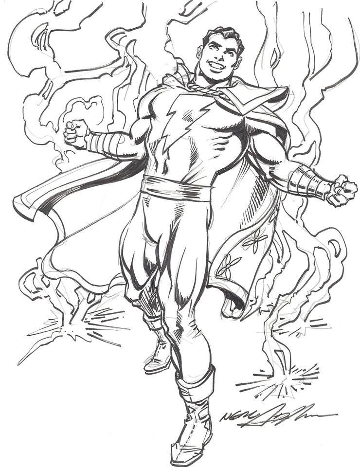 Captain Marvel By Neal Adams Nealadams Captainmarvel Shazam Billybatson Theworldsmight Superhero Coloring Pages Comic Book Art Style Captain Marvel Shazam