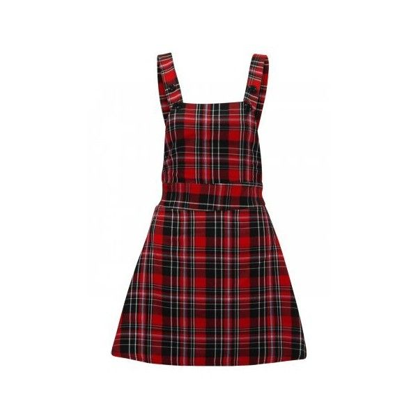 Red Sleeveless Tartan Plaid Stripe Pinafore Dungaree Skater Dress (13.705 CLP) ❤ liked on Polyvore featuring dresses, skirts, red plaid dresses, denim dress, red sleeveless dress, striped skater dress and pinafore dress