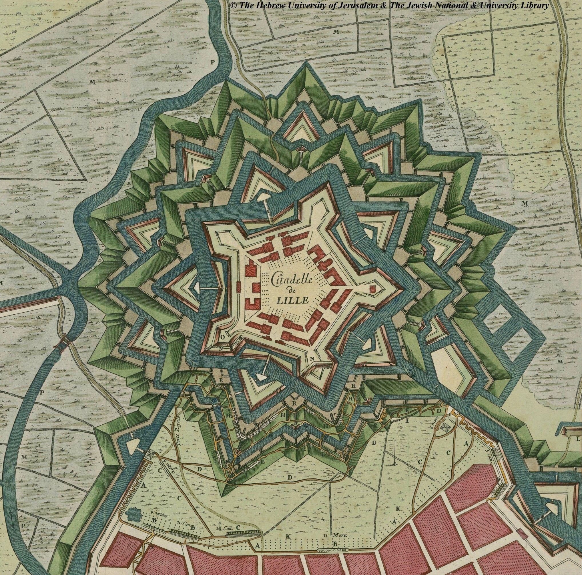 Citadelle De Lille France Fricx 1709 Ancient Maps Star Fort