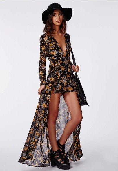 Roxy Floral Chiffon Plunge Maxi Overlay Playsuit Black