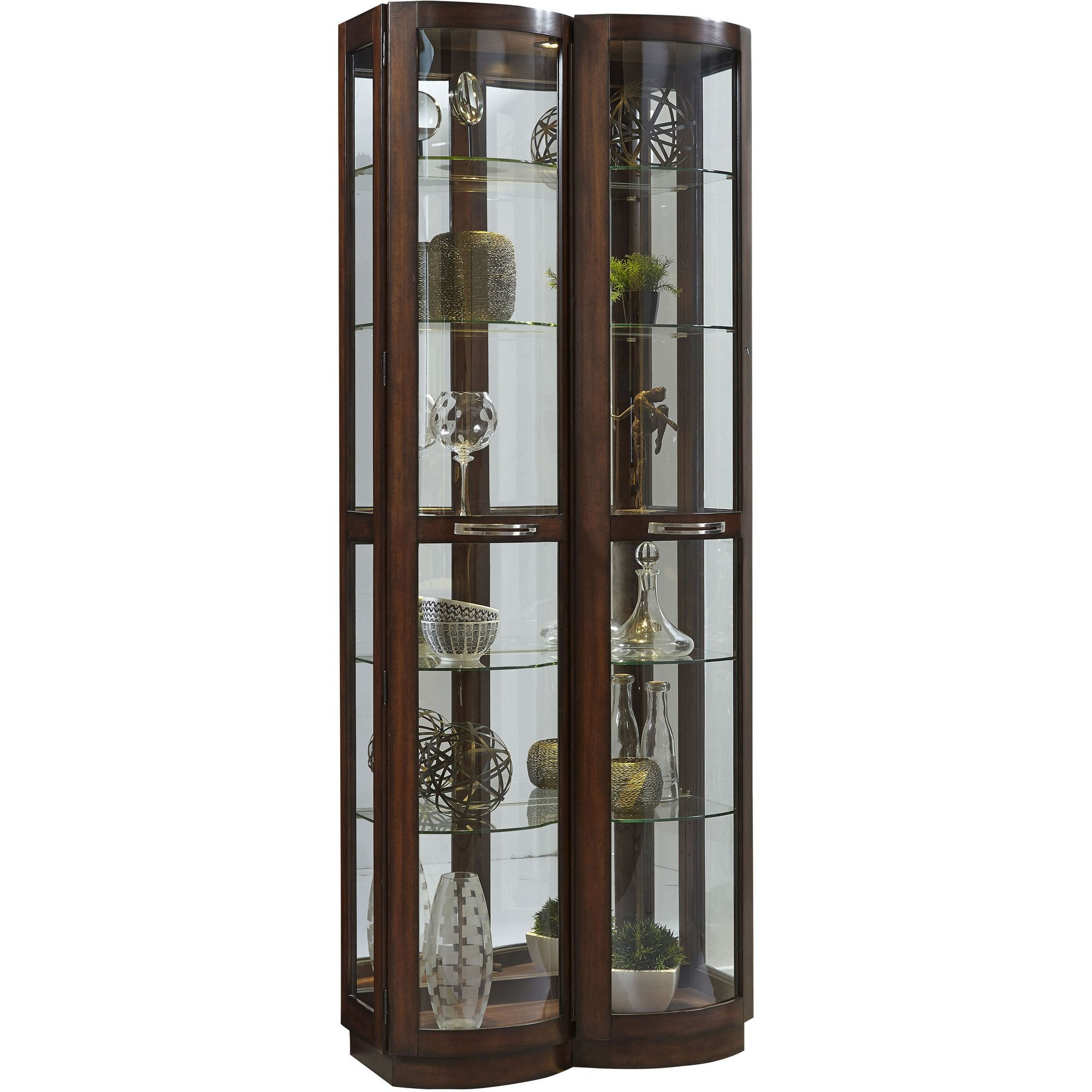 Pacific Heights Curved Front Curio In Brown Pulaski Home Gallery Stores Glass Shelves In Bathroom Glass Cabinets Display Glass Shelves
