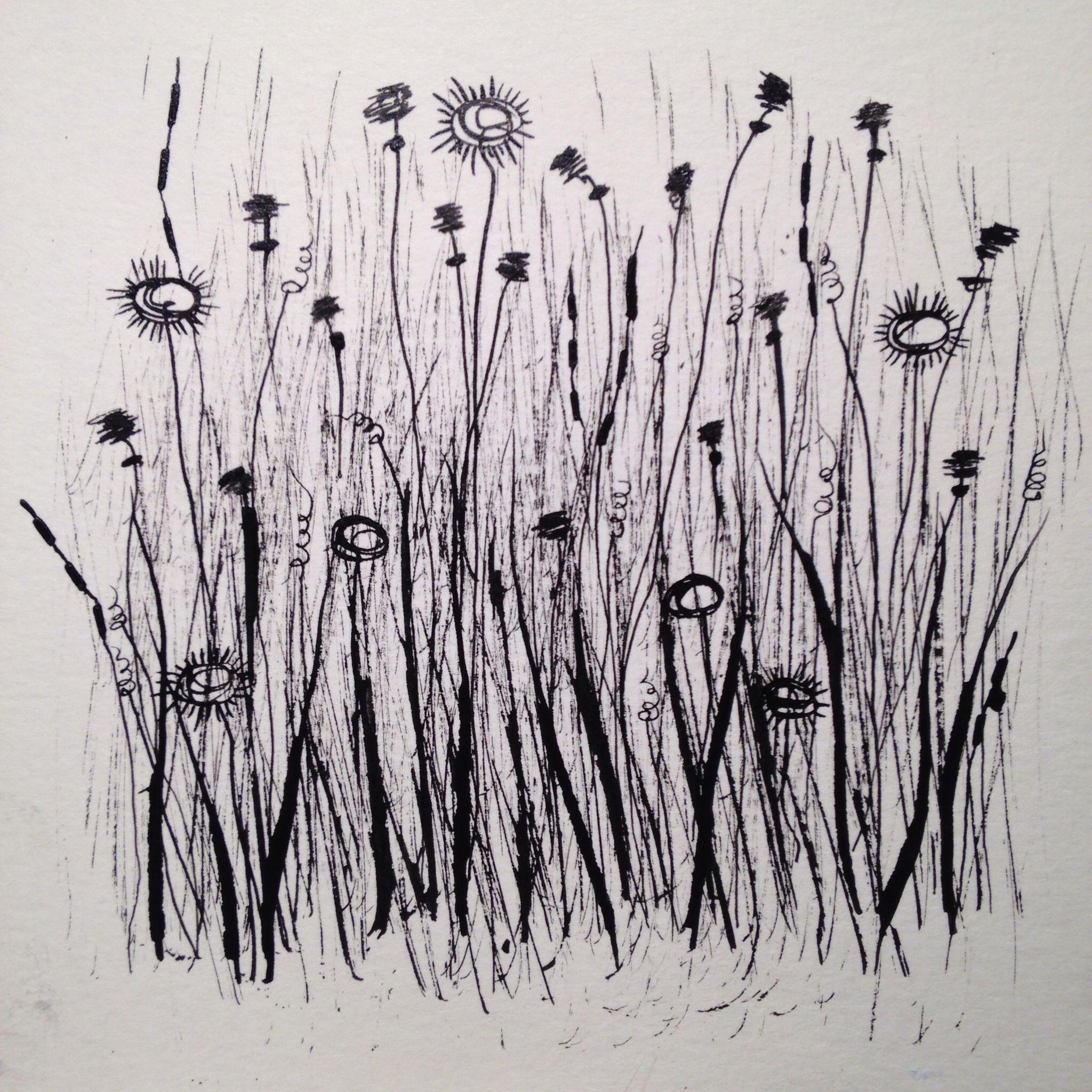 Wildflower field. Ink
