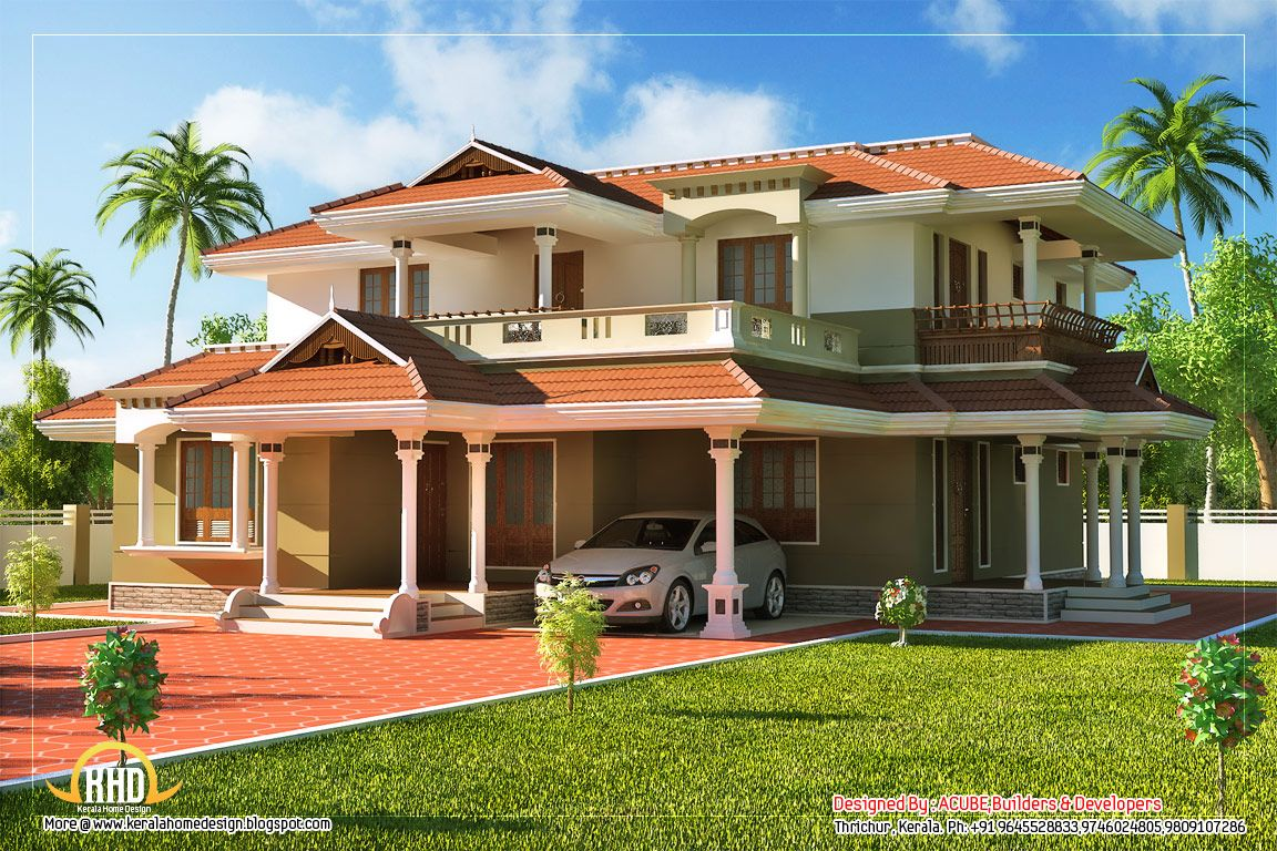 Beautiful kerala style 2 story house beautiful homes for Beautiful houses pictures in kerala