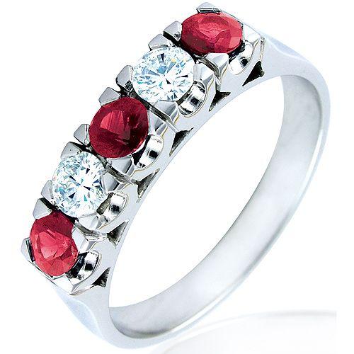Alianza de boda con diamantes y rubies