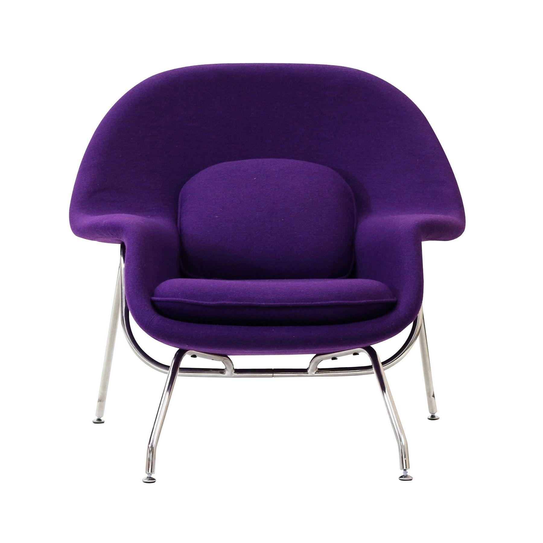 LexMod Eero Saarinen Style Womb Chair and Ottoman Set in Purple